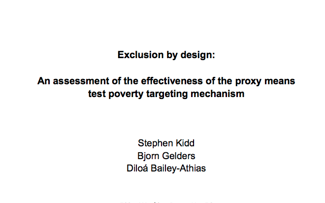 Exclusion by Design: An assessment of the effectiveness of the proxy means test poverty-targeting mechanism