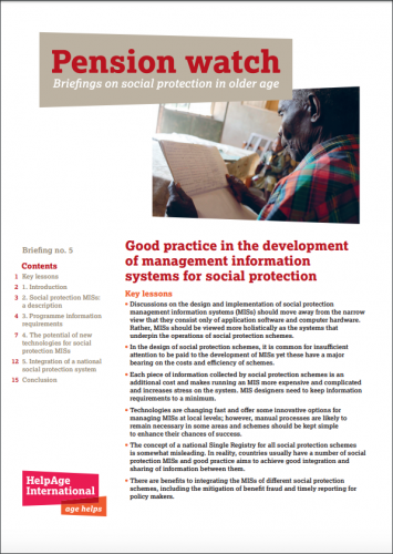 Good practice in the development of management information systems for social protection