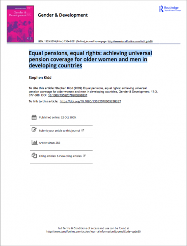 Equal pensions equal rights achieving universal pension coverage for older women and men in developing countries
